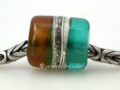 Teal Maple Silvered Ivory Tube Big Hole Bead