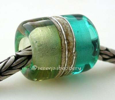 Teal Mojito Silvered Ivory Tube Big Hole Bead light teal and mojito green with fine silver and silvered ivory european charm style bead13x11 mmprice is per bead Glossy,Matte