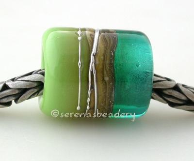 Teal Pea Green Silvered Ivory Tube Big Hole Bead