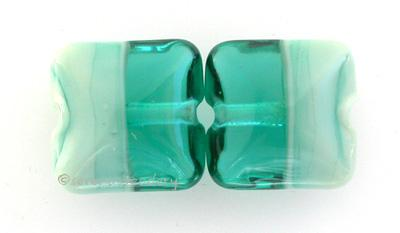 Teal Copper Green Duo A pillow shape in teal and copper green. 13 mm price is per pair Glossy,Matte