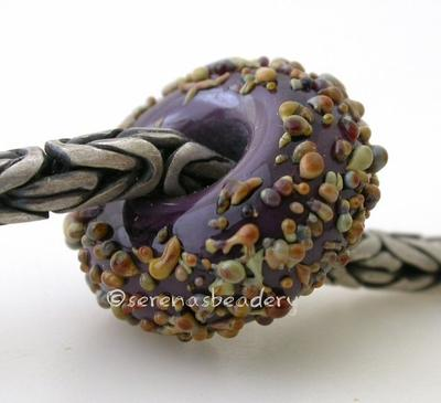 Thai Orchid Raku Sugar European Charm Bead purple thai orchid with raku sugar european charm lampwork glass bead6x15mmprice is per bead Glossy,Matte