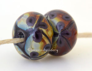Deep Purple and Raku Flowers one pair of deep purple and raku beads with matching purple flowers 6x12 mm 2.5 mm hole     Glossy,Matte