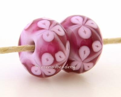 Triple Pink Flowers one pair of triple pink flower beads 6x12 mm 2.5 mm hole     Glossy,Matte