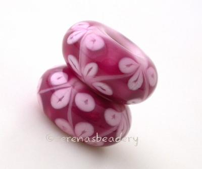 Triple Pink Flowers European Charm Bead one triple pink flower european charm bead6x15mmprice is per bead Glossy,Matte