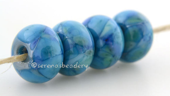 Silver Lining LTD Dark turquoise lampwork glass beads with green and turquoise blue frit. Bead Size: 6x12 mm Hole Size: 2.5 mm   Glossy,Matte