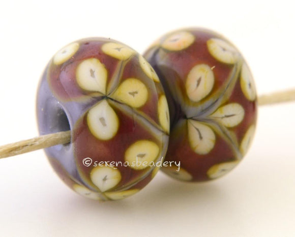 Violet Pink and Yellow Flowers one pair of violet and pink beads with yellow flowers 6x12 mm 2.5 mm hole     Glossy,Matte