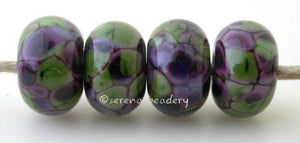 Violet Spring Violet colored beads covered in spring violet colored frit.Bead Size: 6x11-12 or 7x13-14 mmHole Size: 2.5 mmprice is for one bead with a discount for 4 or more 11-12 mm,Glossy,13-14 mm,Glossy,11-12 mm,Matte,13-14 mm,Matte