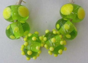 Super Brights 6 beads in grass green and bright yelllow6x11mm Glossy,Matte
