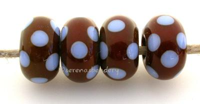 Brown and Blue Dots brown bead with periwinkle dots approximately 6x11 mm price is per bead Glossy,Matte
