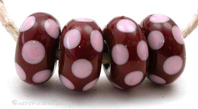 Brown and Pink Dice Dots light brown and streaky pink mini dice dots 5x11 mm price is per bead Glossy,Matte