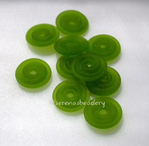 Dark Grass Green Matte Wavy Disk Spacer