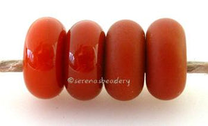 Burnt Orange Color Notes: an oddlot color that is no longer in production - once its gone, there will be no more 5x10 mm Available shapes and sizes:Round Bead Shapes: Available to order 8 to 15 mm with hole sizes ranging from 1.5 to 5 mm. See drop down menu for the exact options. Shown here in 8, 9 and 10 mm with both a 2.5 mm and 1.5 mm hole. 4 and 5 mm holes will fit European Charm style jewelry.Also available in a wavy disk or bead cap:. Pressed bead shapes:Lentil - 12x13 mm in size with a 1.5mm hole.: P