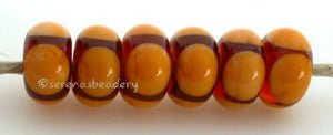 Amber and Squash Circle Dots amber and squash quad dots 5x11 mm price is per bead Glossy,Matte