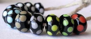 Black and Colored Dice Dots one black bead in a dice dot pattern available in the color of your choice 6x11mm   sage, light gray, lavender, light ivory, uranium yellow, and white   coral, pea green, bright acid yellow, copper green, and sky blue Glossy,1204 White,Glossy,1210 Avocado,Glossy,1212 Pea Green,Glossy,1213 Mint Green,Glossy,1214 Nile Green,Glossy,1216 Grass Green,Glossy,1218 Petroleum Green,Glossy,1219 Copper Green,Glossy,1220 Periwinkle,Glossy,1222 Dark Periwinkle,Glossy,1232 Light Turquoise,Gl