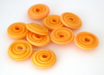 Squash Orange Matte Wavy Disk Spacer 10 wavy disks in squash orange with a matte finish2 sizes available: 11-12 mm with 1.5 mm hole or 13-14 mm with 2.5 mm holeprice is per 10 disks 11-12 mm 1.5 mm hole,12-13 mm 2.5 mm hole