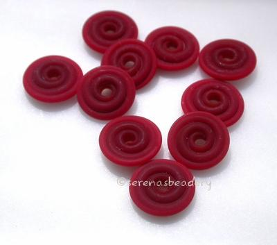 Deep Red Matte Wavy Disk Spacer 10 wavy disks in deep red with a matte finish2 sizes available: 11-12 mm with 1.5 mm hole or 13-14 mm with 2.5 mm holeprice is per 10 disks 11-12 mm 1.5 mm hole,12-13 mm 2.5 mm hole