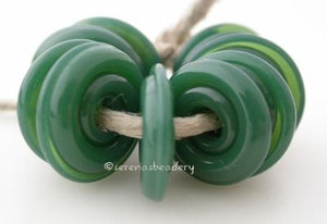 Dark Forest Green Wavy Disk Spacer