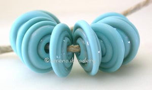 Light Turquoise Tumbled Wavy Disk Spacer