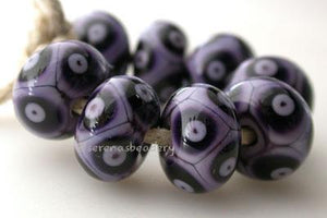 Violet and Deep Purple Dots new violet with deep purple offset dots 6x12 mm price is per bead Glossy,Matte