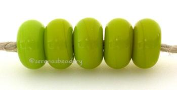 Parrot Green Color Notes: an oddlot color that is no longer in production - once its gone, there will be no more 5x10 mm Available shapes and sizes:Round Bead Shapes: Available to order 8 to 15 mm with hole sizes ranging from 1.5 to 5 mm. See drop down menu for the exact options. Shown here in 8, 9 and 10 mm with both a 2.5 mm and 1.5 mm hole. 4 and 5 mm holes will fit European Charm style jewelry.Also available in a wavy disk or bead cap:. Pressed bead shapes:Lentil - 12x13 mm in size with a 1.5mm hole.: P