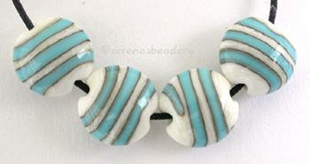 Ivory and Turquoise Lentil Stripes