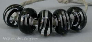Black Spiral Stripe a black ribbon spiral stripe with a clear heart6x12 mmprice is per bead Default Title