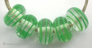 Grass Green Spiral Stripe a grass green ribbon spiral stripe with a clear heart6x12 mmprice is per bead Default Title