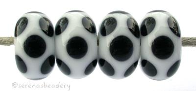 White Black Dice Dots A white base with black dice dots. 5x11 mm price is per bead Glossy,No,Glossy,Yes,Matte,No,Matte,Yes