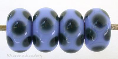 Periwinkle Steel Blue Dice Dots A periwinkle base with steel blue dice dots. 5x11 mm price is per bead Glossy,Matte