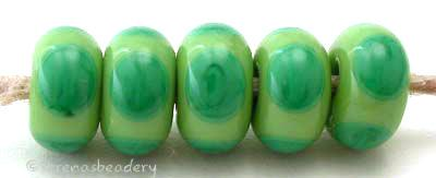 Pea Grass Green Circle Dots each pea green bead has 4 dark grass green dots 6x11 mm price is per bead Glossy,Matte