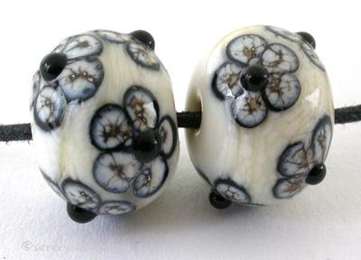Silvered Ivory and Black Flowers