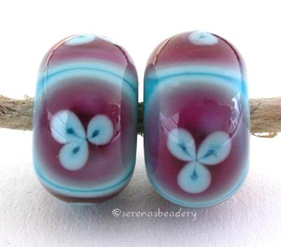 Turquoise and 3 Petal Pink Flowers one pair of turquoise and pink beads with turquoise flowers 6x12 mm 2.5 mm hole Glossy,Matte