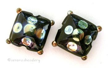 Black Gold a pair of black pillows with gold dots 13mm square price is per pair of beads Default Title