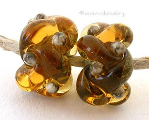 Amber Silvered Ivory Wovens a pair of wovens with silvered ivory as a base and matching dots - shown here in light amber7x13 mm Default Title