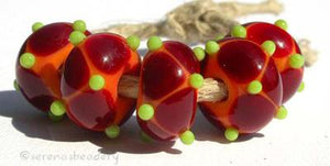 Sunny Day Dots beads with a coral base with dark red offset dots and lime green mini dots. 6x12 mm price is per bead Glossy,12mm,Glossy,13mm,Glossy,14mm,Glossy,15mm,Glossy,16mm,Glossy,17mm,Matte,12mm,Matte,13mm,Matte,14mm,Matte,15mm,Matte,16mm,Matte,17mm