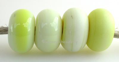 Lemon Meringue Color Notes: an oddlot color that is no longer in production - once its gone, there will be no more 5x10 mm Available shapes and sizes:Round Bead Shapes: Available to order 8 to 15 mm with hole sizes ranging from 1.5 to 5 mm. See drop down menu for the exact options. Shown here in 8, 9 and 10 mm with both a 2.5 mm and 1.5 mm hole. 4 and 5 mm holes will fit European Charm style jewelry.Also available in a wavy disk or bead cap:. Pressed bead shapes:Lentil - 12x13 mm in size with a 1.5mm hole.: