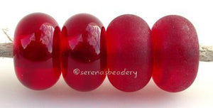 Red Candy Apple Color Notes: an oddlot color that is no longer in production - once its gone, there will be no more 5x10 mm Available shapes and sizes:Round Bead Shapes: Available to order 8 to 15 mm with hole sizes ranging from 1.5 to 5 mm. See drop down menu for the exact options. Shown here in 8, 9 and 10 mm with both a 2.5 mm and 1.5 mm hole. 4 and 5 mm holes will fit European Charm style jewelry.Also available in a wavy disk or bead cap:. Pressed bead shapes:Lentil - 12x13 mm in size with a 1.5mm hole.