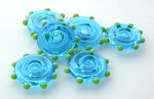 Aqua Wavy Disks with Pea Green Dots Aqua disks with pea green dots3x17-18 mm price is per 6 disks Default Title