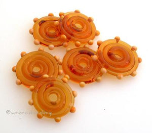 Amber Wavy Disks with Squash Yellow Dots Amber disks with squash yellow dots3x17-18 mm price is per 6 disks Default Title