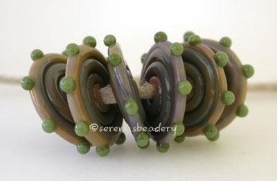 Canyon Wavy Disks with Olive Dots Canyon de Chelly disks with dark olive green dots3x17-18 mm price is per 6 disks Default Title