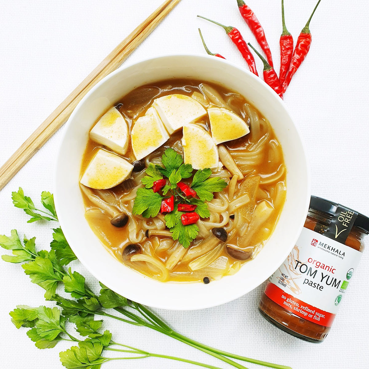 Simple Thai Tom Yum Rice Noodle Soup