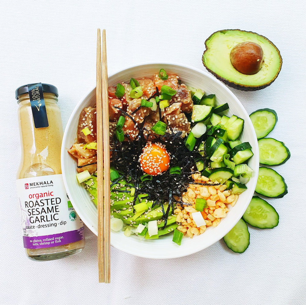 Roasted Sesame Garlic Poke Bowl