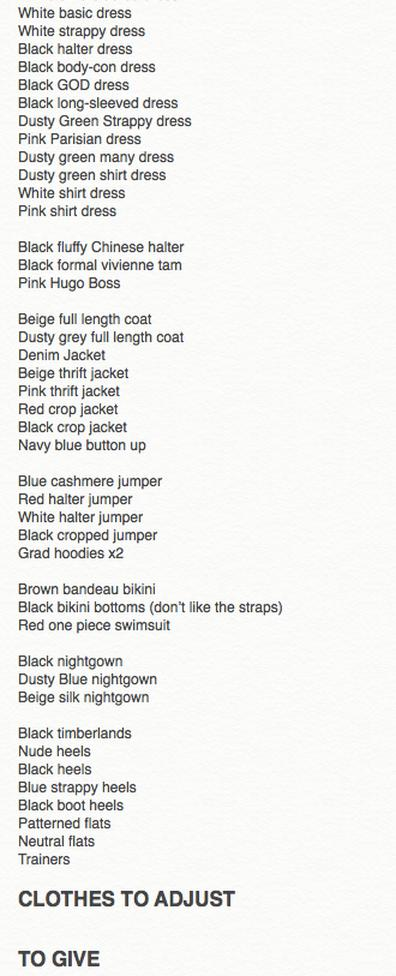 to thrift, my wardrobe list