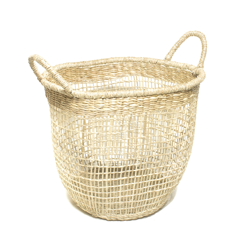 Split Seagrass Round Basket with Ear Handles Size S