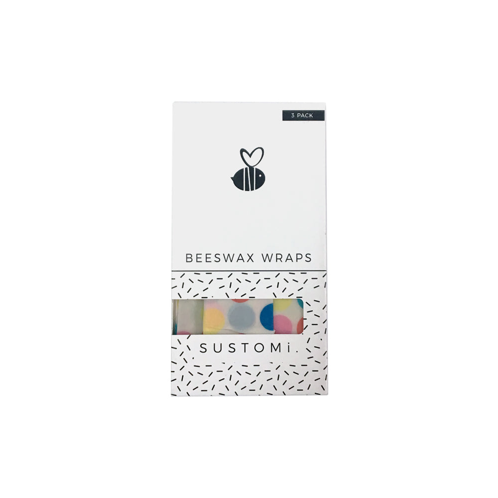 Beeswax Wraps Polka dot 3 Pack: 1S 1M 1L
