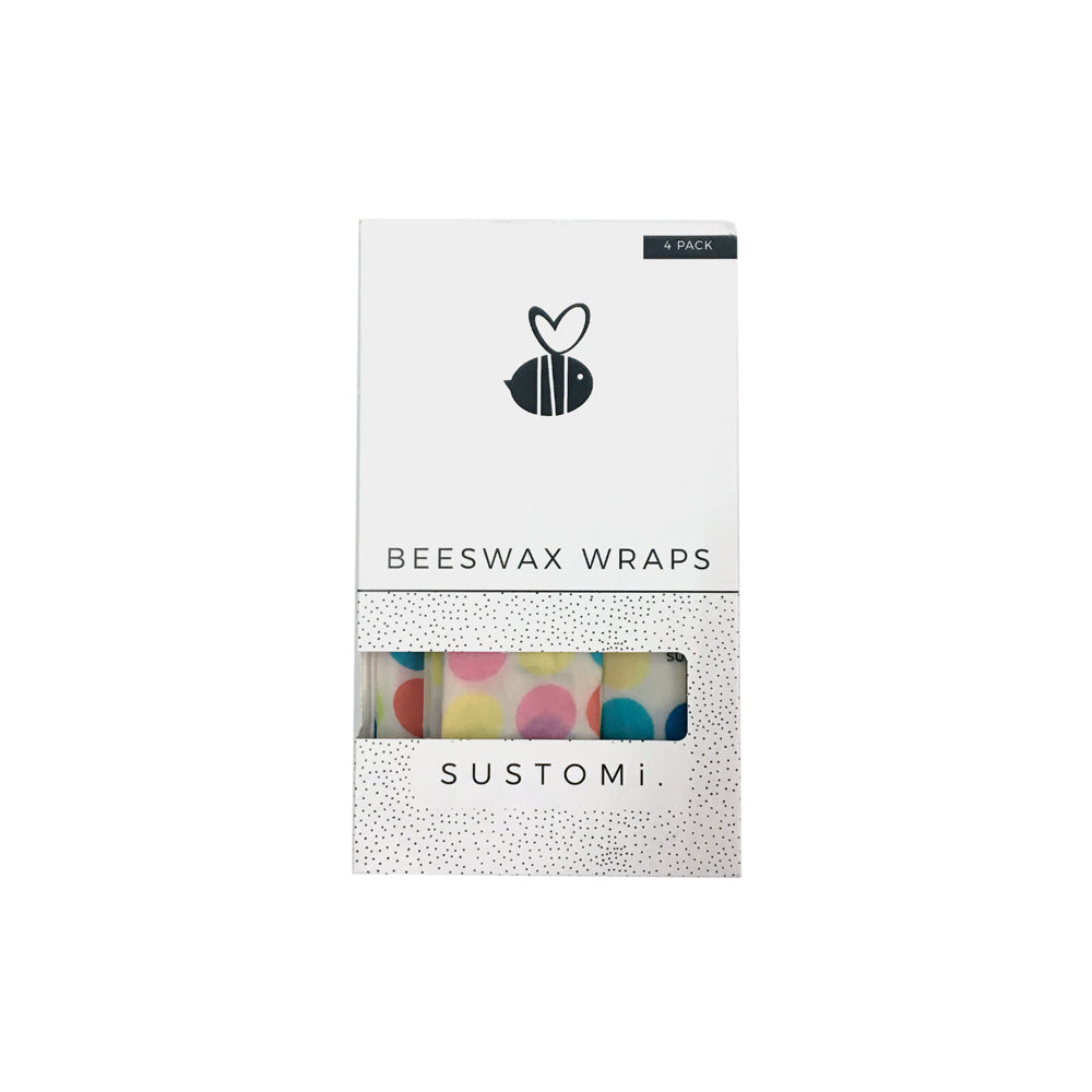 Beeswax Wraps Polka dot 4 Pack: 1S 1M 1L 1XL