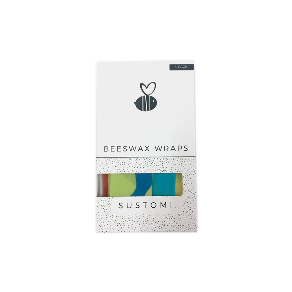 Beeswax Wraps Splash 4 Pack: 1S 1M 1L 1XL
