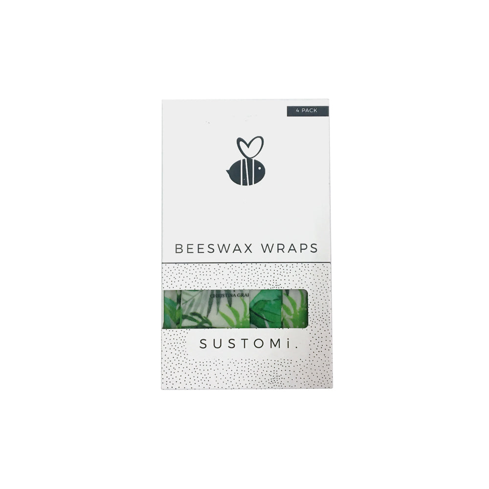 Beeswax Wraps Tropical Fronds 4 Pack: 1S 1M 1L 1XL
