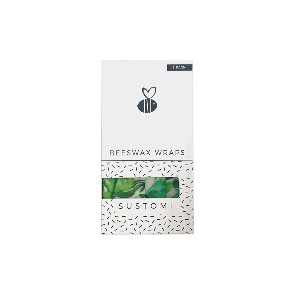 Beeswax Wraps Tropical fronds 3 Pack: 1S 1M 1L