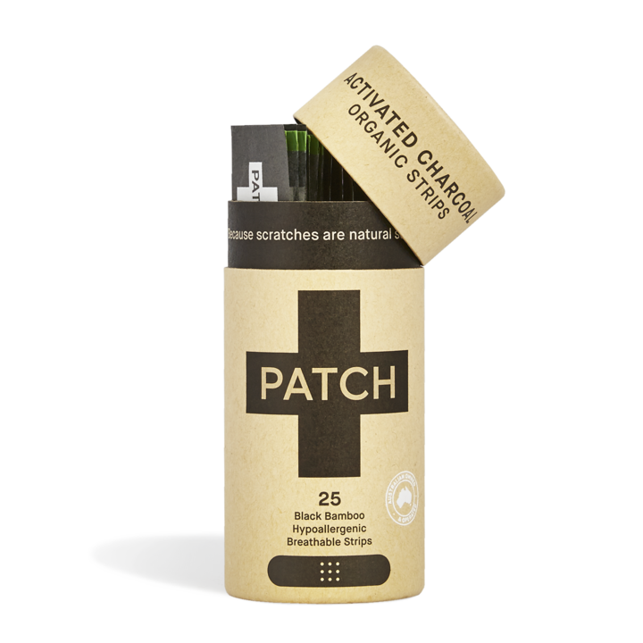 PATCH Organic Bamboo Adhesive Strips Activated Charcoal - Tube Of 25